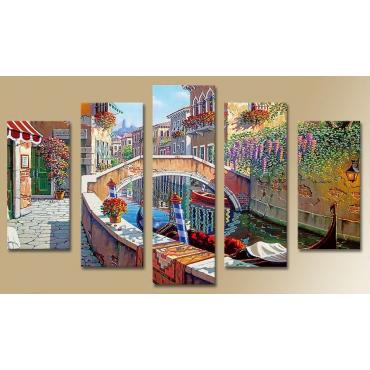 Модульная картина абстракция город и улица 80х140 M1268