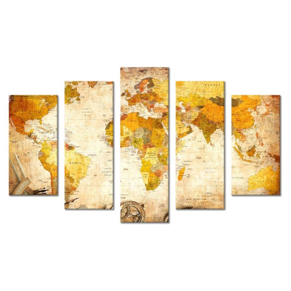 Модульная картина абстракция карта мира и континенты 80х140 М1672
