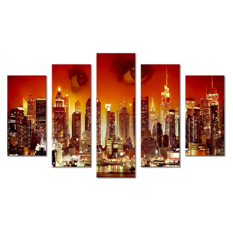 Модульная картина абстракция город и ночь 80х140 М1759
