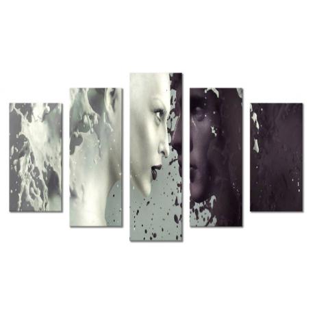 Модульная картина абстракция люди и взгляд 80х140 М1823
