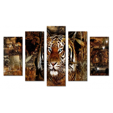 Модульная картина абстракция лев и текстура 80х140 М2085