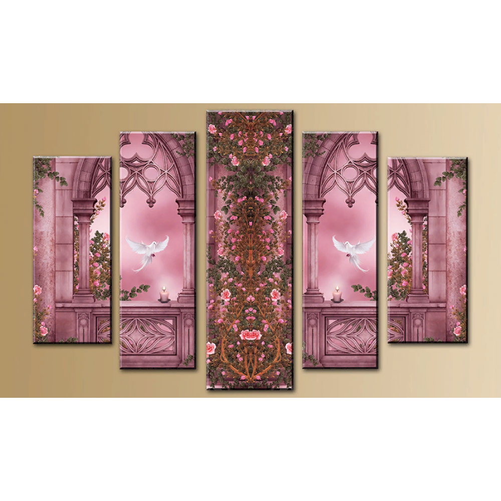 Модульная картина абстракция окно и вид 80х140 M744