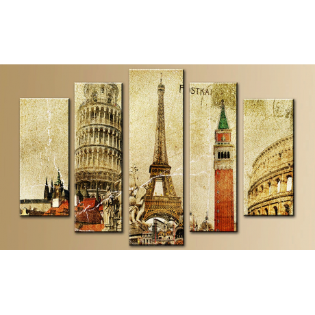 Модульная картина абстракция париж и Эйфелевая башня 80х140 M766