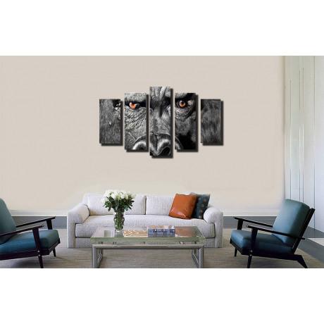 Модульная картина абстракция животные и обезьяна 80х140 М2144