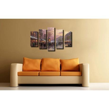 Модульная картина абстракция город и улица 80х140 М2240