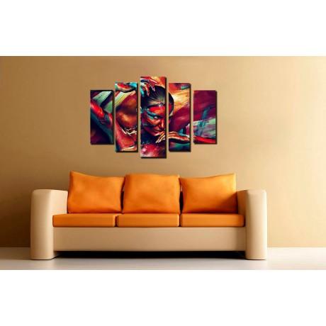 Модульная картина абстракция девушка и картина 80х140 M774